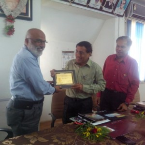 Dr.M.S.Ali Principal, PRMCEAM, welcoming Shri.P.P.Deshmukh, JDI, Aurangabad