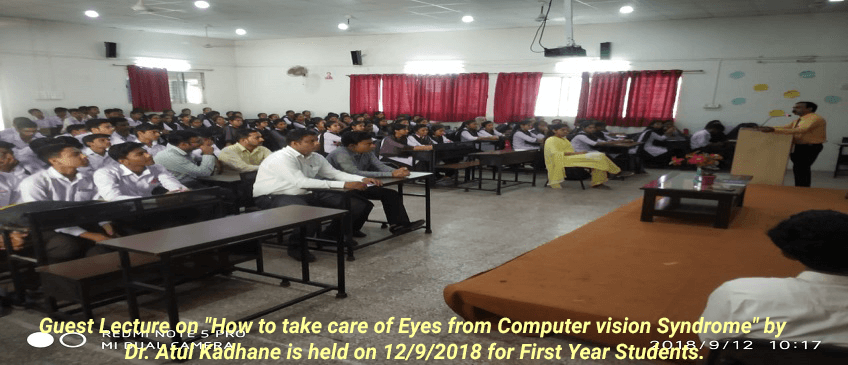 Guest-Lecture-on-How-to-take-care-of-Eyes-from-Computer-vision-Syndrome-by-Dr.-Atul-Kadhane-is-held-on-12-9-2018-for-First-Year-Students.